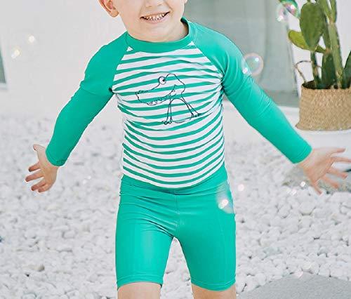 DOOUYTERT Klassisch Kinder Langarm Split Badeanzüge Kinder Streifen Muster Neoprenanzug für Wassersport (grün) (Farbe : Green, Größe : 100cm)