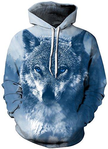 TDOLAH Herren Slim Fit Kapuzenpullover 3D Druck Sweatshirt Pullover (Größe L / XL, A-blau Wolf) (Herren-wolf)