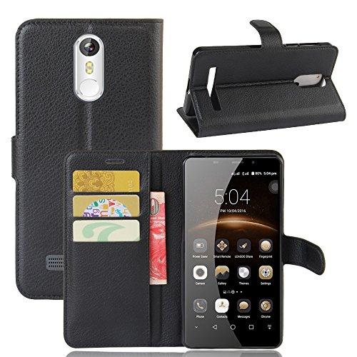 VIFLYKOO Leagoo M8 Funda, Leagoo M8 Carcasa Cuero Flip Cover Cuero PU Case Cartera con Ranuras para Tarjetas Incorporadas Cover para Leagoo M8 Smartphone Case - Negro