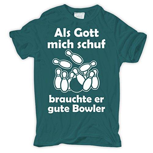 Männer und Herren T-Shirt Als Gott mich schuf - BOWLER (mit Rückendruck) Pazifikblau