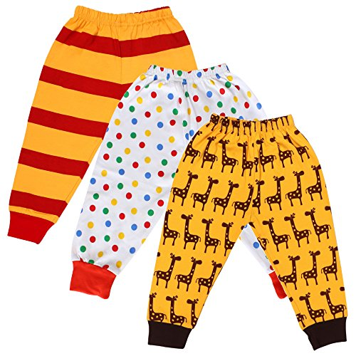 Tiddlee Baby Kids Clothes - for Girls and Boys - Children Combo set - Pack of 3 Printed Multicolour Pajama Pants / Legging / Pajami / Lower / Trouser / Pyjama with colored Rib - Soft & 100% hosiery cotton - Multi-color - Child Skin friendly, Durable & High Quality Coloured Clothing Apparel - (newborn, 0-3 months) - for infant / toddler  available at amazon for Rs.329