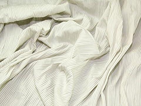 Polycoton Beige Seersucker Mini Stripe garde robe tissu au mètre