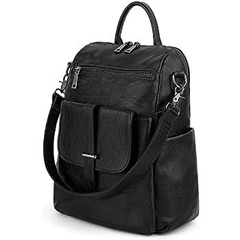 d9178145592 UTO Multipurpose Women Backpack 3 Ways Convertible Ladies Rucksack Shoulder Bag  Handbag Girl School Bag PU Washed Leather Black