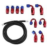 Homyl 1 Set de Manguera de Aceite con Accesorios para Reparación de Carros Color Opcional - AN6 Negro