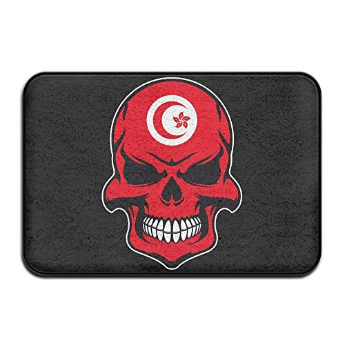 Non Slip Door Mat Outdoor,Decorative Garden Office Bathroom Door Mat with Non Slip, Inside & Outside Carpets Floor Door Mat Tunisia Flag Sugar Skull with Roses Design Pattern for Hallway -