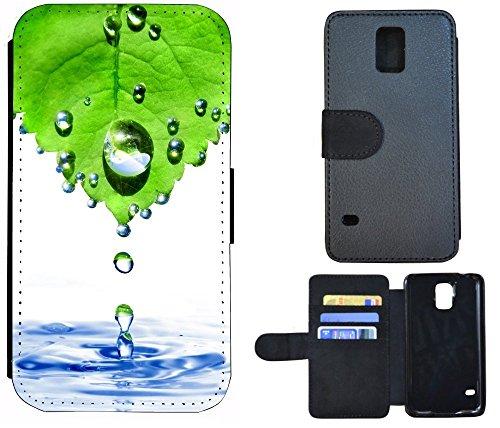 Schutz Hülle Flip Cover Handy Tasche Etui Case für (Apple iPhone 4 / 4s, 1019 Pferd Hengst auf Wiese Weiß) 1016 Abstract Grün Blau Weiß