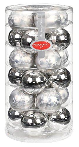 24 Christbaumkugeln GLAS 6cm ( eislack zinn ) // Weihnachtskugeln Baumkugeln Baumschmuck Weihnachtsdeko Kugeln Glaskugeln Christbaumschmuck Dose Deko 60mm