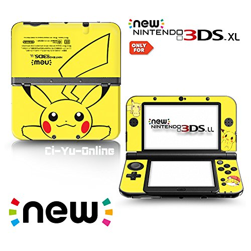 [new 3DS XL] Pokemon Pikachu Yellow Limited Edition VINYL SKIN STICKER DECAL COVER for NEW Nintendo 3DS XL / LL Console System by Ci-Yu-Online (Pokemon 3ds Xl Cover)