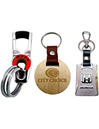 City Choice New Combo Of Honda & Omuda Hook-Locking Keychains With Free Wooden Round Keychain