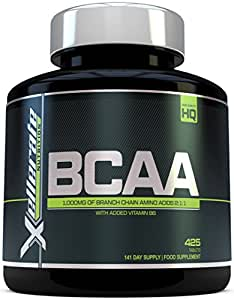 BCAA Tablet 1000mg - 425 Tablets - 3000mg Daily Serving - 141 Day Supply - 2:1:1 BCAA's Branch Chain Amino Acids + B6 - Ingredients Include L-Leucine, L-Isoleucine, L-Valine by Xellerate Nutrition
