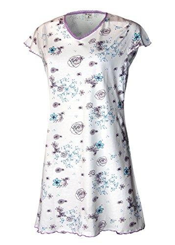 Lavazio chemise de nuit pour femme nuit schlafshirt schlafhemd pyjama pour femme 100%  coton taille s m l xL Weiß