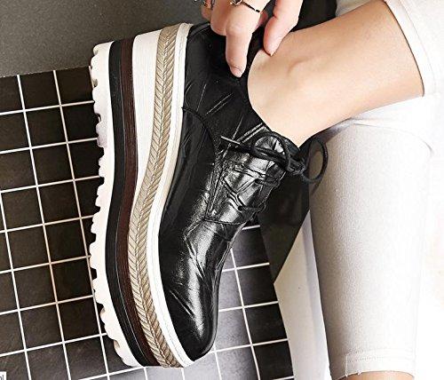 singoli pattini 2017 nuova pelle testa di pecora testa rotonda loft scarpe stringate alta abbigliamento casual Black
