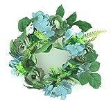 Hortensienkranz - Blumenkranz - Blütenkranz - Türkranz - Tischkranz - Wandkranz - Dekokranz - Rattankranz - Rattan - Kranz - Frühlingskranz - Frühling - Herbst - Hortensien - blau - Ø 30 cm
