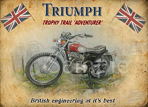 The Rusty Apples Metal Sign Co Triumph Trophy Trail Vintage Poster Werbung, Metallschild: Hausdekor: Man Cave: