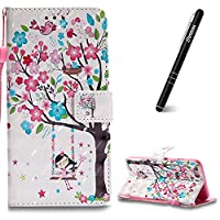 iPhone 6 Plus Case, iPhone 6 Plus Leather Case Wallet, Slynmax 3D Printing Tree Girl Design Flip Folio PU Leather Wallet Case Inner Soft TPU Cover with Stand Function Hand Strap Card Holders Magnetic Closure Book Style Shock Resistant Protective Case for