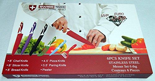 SWISS TOUCH. Set juego de cuchillos de cocina profesionales de acero inoxidable. 5 con pelador, revestimiento ceramico, antiadherentes