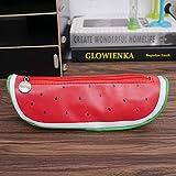 Estuches Rojo Creativo Lindo Kawaii Estuche de Lápiz Bolsa Sandía Naranja Fruta DiseñoLápiz de Cuero Bolsa de Cremallera Pencilcase Para Regalo de los niños