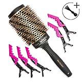 Brosse à cheveux professionnelle ronde en poils de sanglier de 53 mm pour brushing....