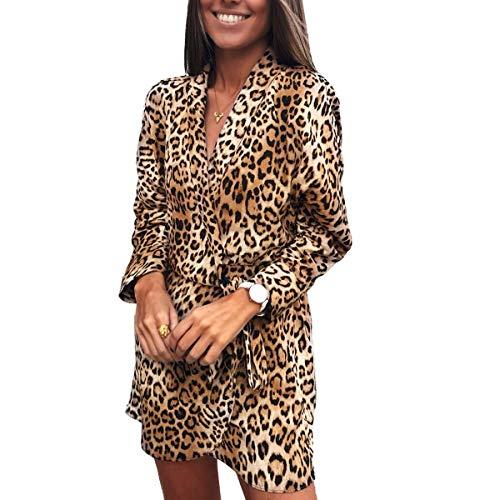 Vestido Escote en v Manga Larga con Cuello en V Vestido de Verano Sexy Leopardo Vestido de Oficina OL Vestido (Color : Yellow, Size : S)