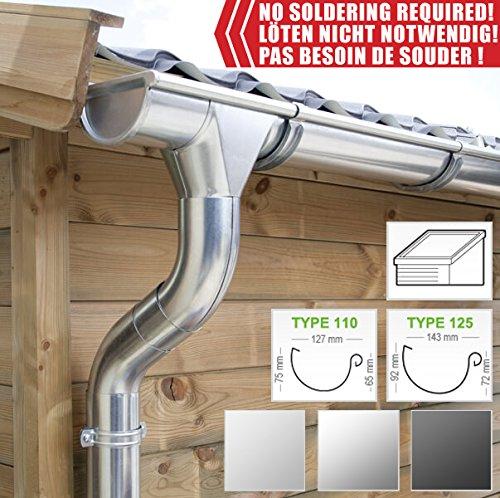 fallrohr verzinkt Zink Dachrinnen/ Regenrinnen Set | Pultdach (1 Dachseite) | in Titanzink/ Verzinkt/ Anthrazit! Ideal für Veranda, Überdachung oder Vordach. (Komplettes Set bis 11.90 m [Type 110], Verzinkt)