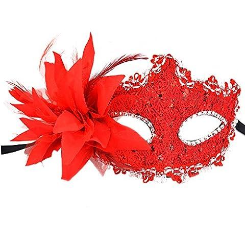 Red Masquerade Masks, SUMERSHA Eye Mask Liles Venetian Mask Lace