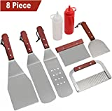 Romanticist 8Pcs Accessori per Grill Kit Attrezzi per Barbecue - Set di Spatole per Uso Professionale in Ccciaio Inox per Impieghi Gravosi Accessori per Barbecue - Perfetti per Cucinare al Barbecue