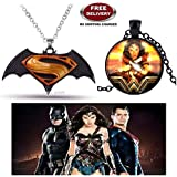 (2 Pcs COMBO SET) - SUPERMAN BATMAN - DAWN OF JUSTICE LOGO (BLACK/YELLOW) & WONDER WOMAN (BLACK) IMPORTED PENDANTS. LADY HAWK DESIGNER SERIES 2018. ❤ ALSO CHECK FOR LATEST ARRIVALS - NOW ON SALE IN AMAZON - RINGS - KEYCHAINS - NECKLACE - BRACEL