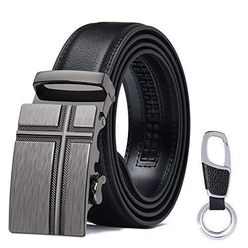 flintronic® Herren Gürtel, Leder Ratsche Automatik Gürtel für Männer Ledergürtel Breite 3.5cm Länge 125CM (inkl & Geschenkbox) -