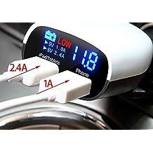 Rápido Cargador De Coche, Universal 5V 3,4A (2.4A + 1A) Dual USB cargador de coche adaptador de monitor LCD Display pantalla Cargador de viaje para iPhone 566S Plus iPad Samsung S7S6Nexus, HTC, LG, Sony, Motorola, Tablet