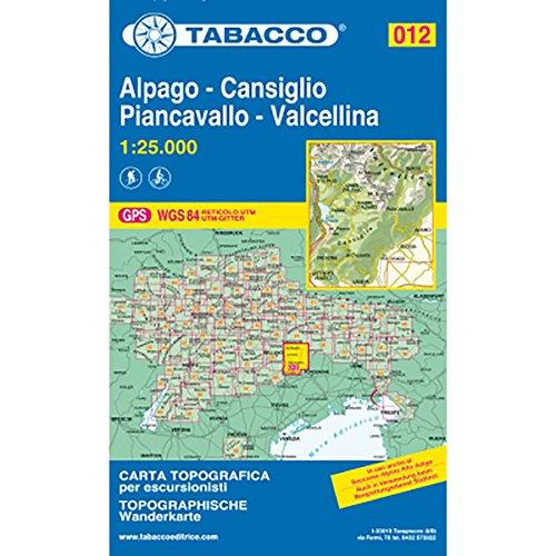 Preisvergleich Produktbild Tabacco Alpago-Cansiglio-Piancavallo-Vallcellina 012 WK. Topografische Karte