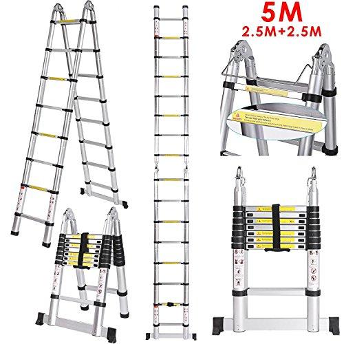 5M Teleskopleiter, cooshional Klappleiter aus Hochwertiges Alu, Mehrzweckleiter Teleskop-Design 150 kg Belastbarkeit, Anlegeleiter Aluleiter Stehleiter