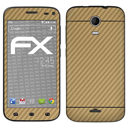 atFolix Skin kompatibel mit Wiko Darkmoon, Designfolie Sticker (FX-Carbon-Gold), Carbon-Struktur/Carbon-Folie