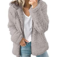 SoonerQuicker Women Autumn Solid Casual Long Sleeve Thick Hooded Open Plush Stitch Coat Jacket Cardigan