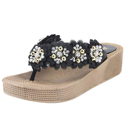 Deloito Damen Freizeit Atmungsaktiv Zehentrenner Leicht Sandalen Mädchen Dicker Boden Strand Schuhe Tragbar Blumen Flip Flops (Schwarz,37 EU)