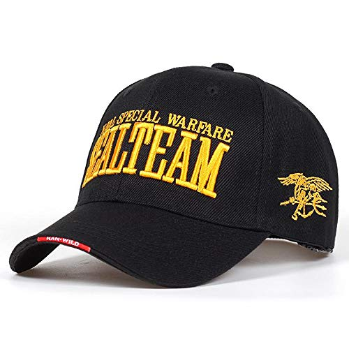 56c8145003301f ... Nuevo US Navy Seal Team Tactical Caps Mens Army Gorras de béisbol Gorras  Ajustable Bone Snapback Hat Sombreros de Golf al Aire Libre (Color : Black)