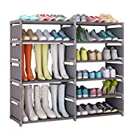 UDEAR Shoe Shelf Shoe Rack Portable 6 Tiers Shoe Storage Cabinet Organizer with Boots Shelf (Grey)120*30*85CM