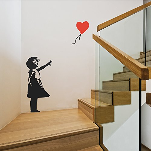 Kleines Mädchen mit einem fliegenden Herzen Banksy Aufkleber Abziehbilder Zuhause Modern Aufkleber Schlafzimmer Dekoration Dekor Stilvoll Kindergarten Wandtattoo Wohnzimmer Abziehbild Baby (Mädchen Online Für)