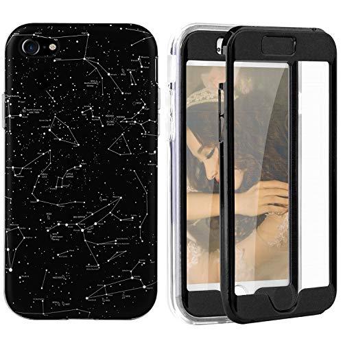 Qianyou Kompatibel mit iPhone 7/iPhone 8 Hülle mit Displayschutz, 2 in 1 Vorne und Hinten Komplet Schutzhülle PC Hardcase + PET Folie Kratzfest Staubschutz Bumper Case 4,7\'\' Stern
