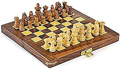 "KRIWIN® Chess Collectible Folding Wooden Game Board Set 10"" X 10"""