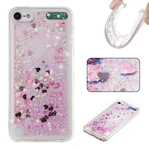Schutzhülle für iPod Touch 6, Dynamic Floating Quicksand Liquid Glitzer Bling Sparkle Pailletten Herzen Flexible Soft TPU Clear Glitter Case für Apple iPod Touch 5/iPod Touch 6, A-Star Pink (Ipod Fall Pink Touch)
