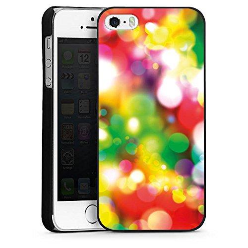 Apple iPhone 4 Housse Étui Silicone Coque Protection Lumières Points Motif CasDur noir