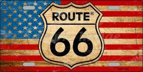 BNHF Route 66 American Flag Novelty License Plate Tag Sign - American Flag License Plate