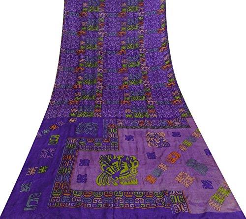 Sari Tuch (Vintage 100% Seide Saree Kleid Machen Nizza Printed Lila Sari Craft Fabric 5 Yds)