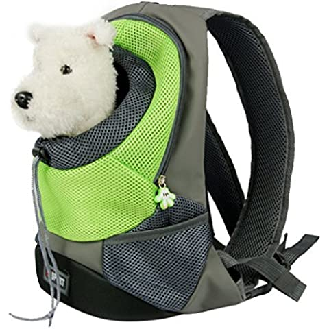 Yihya Portátil Pecho Delantero Pet Carrier Bag Bolso Hombros de Malla Bolsa Pequeña Perro Gato Perrito Externo Viajar Mochila para Mascotas Head Out - Verde (Tamaño M: 40*35*17