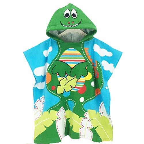 TOPBATHY Dinosaurio con Capucha Albornoz Toalla de baño de algodón para niños Tamaño de niños 70 cm