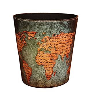 Waste Bin, iTECHOR European American Style Classic Household Home Office Round PU Leather Trash Can Waste Bin Wastebasket Waste-paper Basket Ashcan Ashbin Garbage Can Trash Can without Lid
