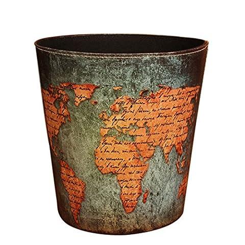 Teckpeak Waste Paper Basket Bin without Lid European Style Retro PU Leather Round Wastebasket Paper