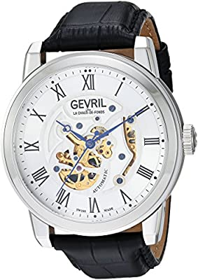 Gevril Men's Analog Swiss-Automatic Watch with Leather Calfskin Strap 2690