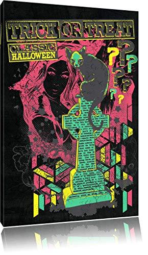Dark Trick or Treat black Leinwandbild Bild auf Leinwand, XXL riesige Bilder fertig gerahmt mit Keilrahmen, Kunstdruck auf Wandbild mit Rahmen, günstiger als Gemälde oder Ölbild, kein Poster oder Plakat, Format:100x70 cm (Zeichnungen Halloween Grabstein)