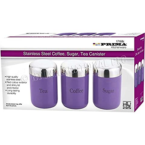 3PC CANISTER SET STAINLESS STEEL COFFEE TEA SUGAR JAR LID CANISTERS STORAGE NEW (PURPLE)